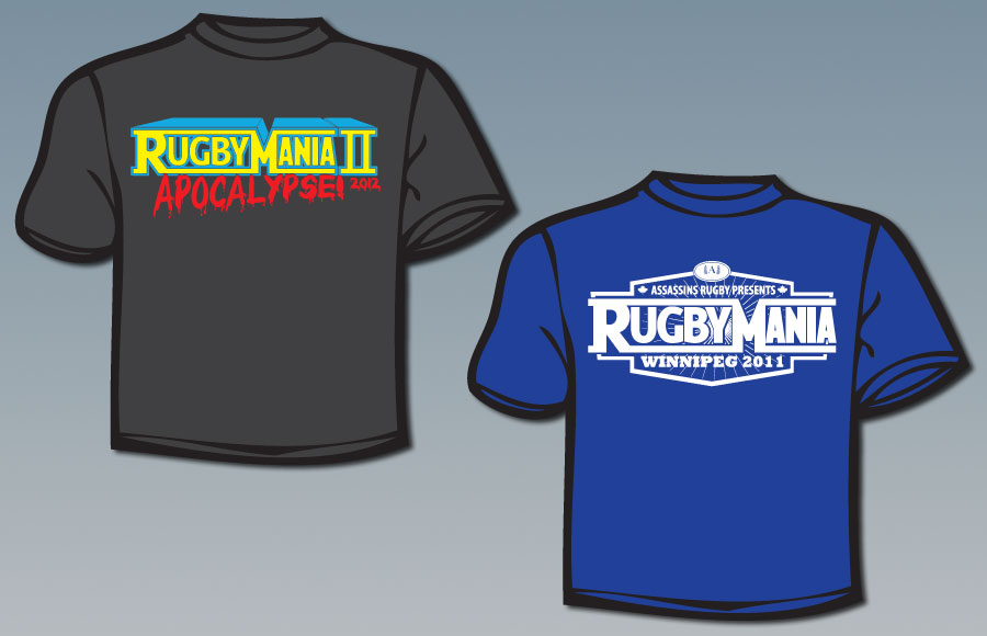 T-shirt designs for Rugbymania 2010, 2011